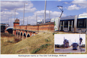 34 Nottingham trams at The Old Toll Bridge, Wilford
