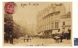 Nottingham Lister Gate postcard on tea towel