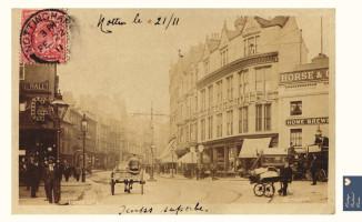 Nottingham Lister Gate postcard on tea towel