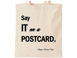 Say it on a Postcard canvas bag