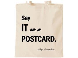 Say it on a Postcard canvas bag