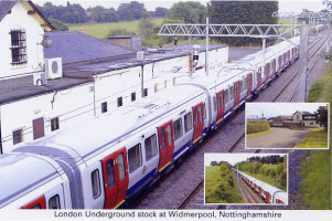 London Underground stock at Widmerpool, Nottinghamshire