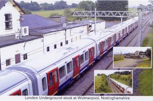 London Underground stock at Widmerpool, Nottinghamshire