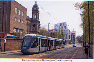 51. Nottingham tram passing School of Art