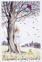 Artist-drawn by John Pulham - girl and kite