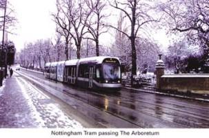 18 Tram passing Arboretum - winter scene
