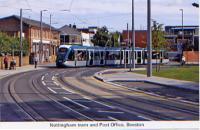 35 Nottingham tram passing Beeston Post Office