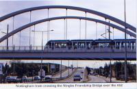 37. Nottingham tram crossing the QMC bridge
